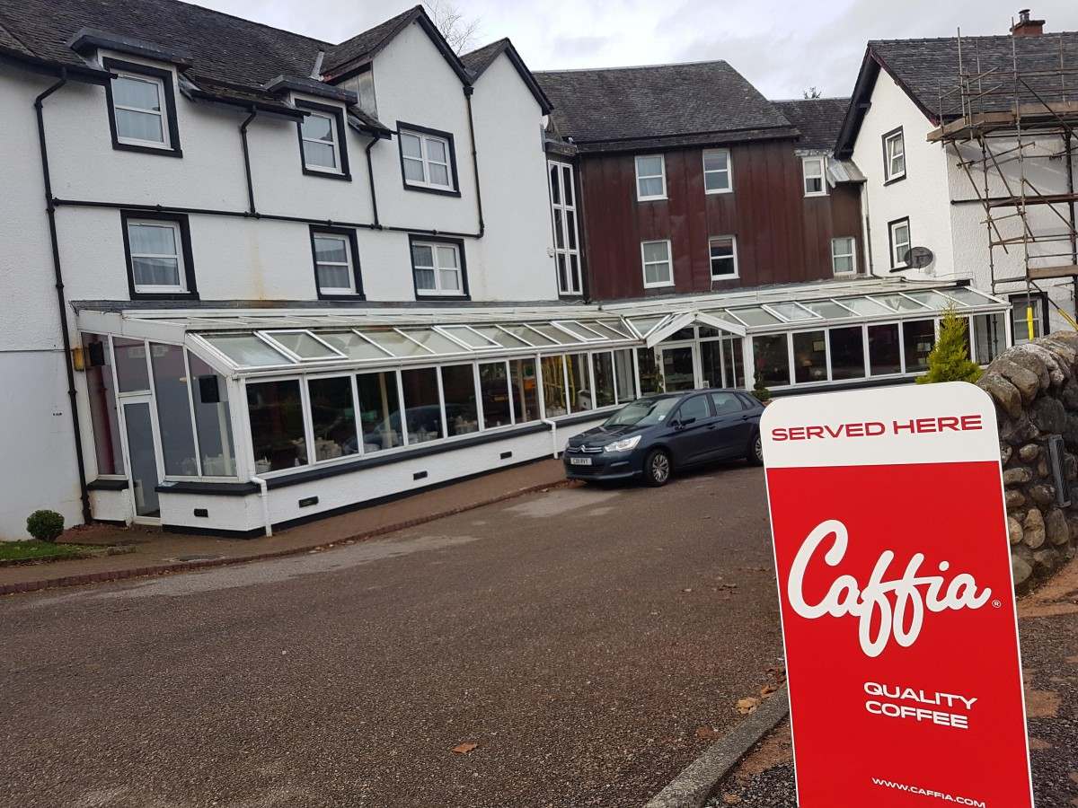 Caffia Coffee Pavement Sign At Hotel Near Stirling